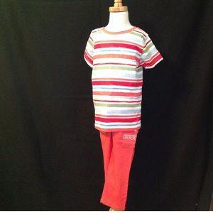 Gymboree Girls Stripe Shirt Coral Pants NWOT 7